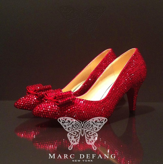 Y Dorothy Slippers Ruby Red Crystals 3 Pumps By Mdny On Etsy 239 00