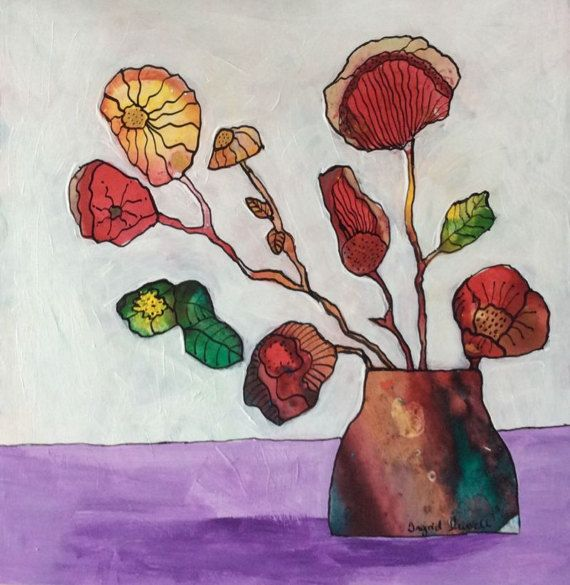 Fantasy flowers painting Floral painting by IggirussDesigns