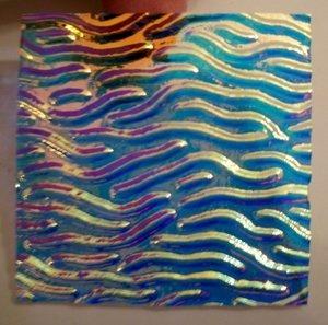 Thin Clear 'Stream X' Cyan/Copper Dichroic Glass $7.50