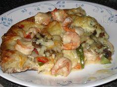 La cuisine en fête de Sakya: Pizza aux Crevettes et aux Légumes,délicieuse…