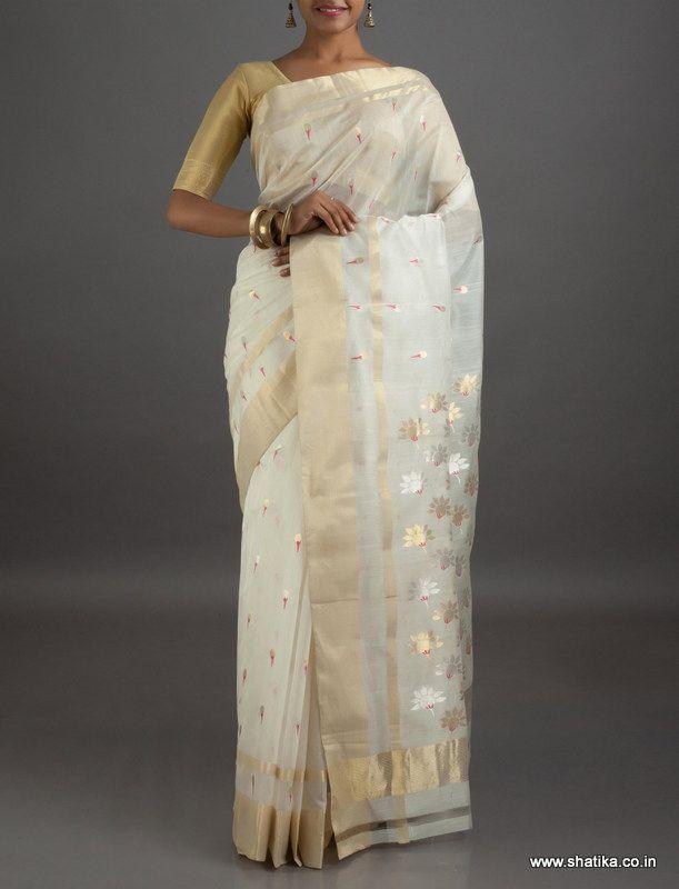 Anaya Cream Bloom Mercerized #ChanderiSilkCottonSaree
