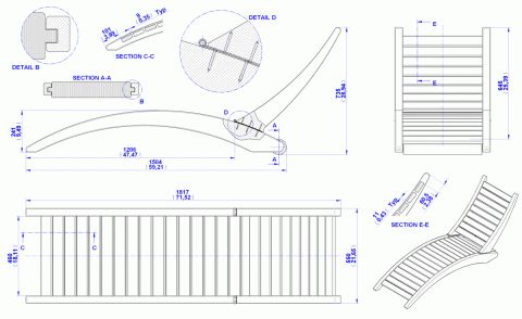 Folding sun lounger plan - Assembly 2D drawing