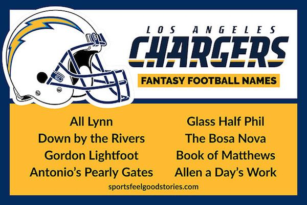 Chargers Fantasy Football Names Sports Feel Good Stories Fantasy Football Names Football Names Fantasy Football
