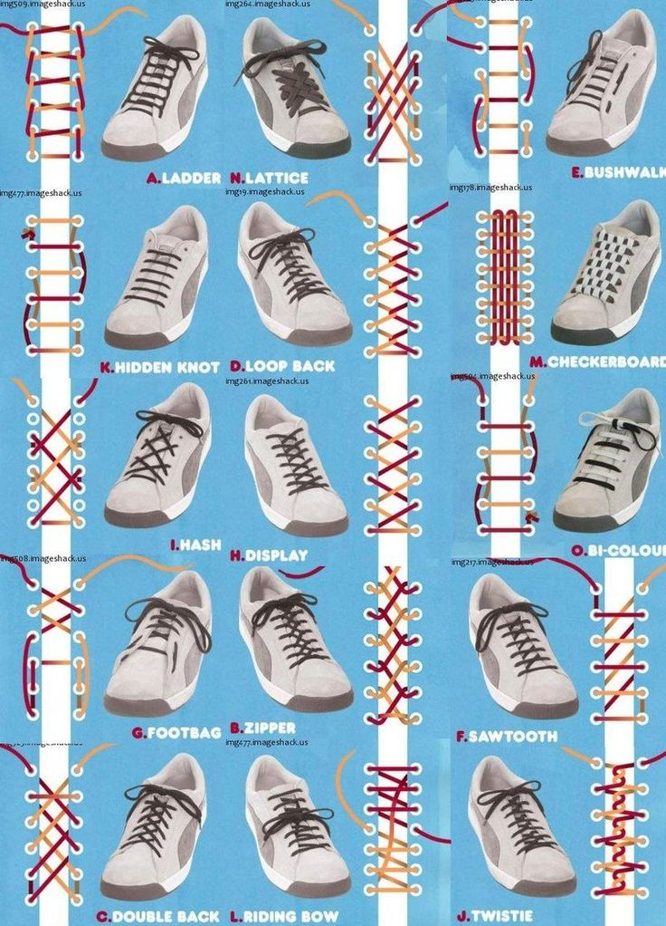 15 different ways to tie your laces.  Just wait until my kids get their hands on this!