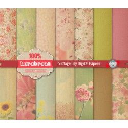 Vintage Lily digital papers  Vintage Lily digital papers in A4 format, can be used for printables, scrapbooks, patterns, backgrounds and other craft works.  You will get: ▾▾▾▾▾▾▾▾▾▾▾▾▾▾▾ ☛ 4 ZIP files ☛ Each file in A4 300dpi JPEG files  ✐ Perfect for printing and digital works, ideal for gift wrapping papers, invitation, carts, web design, blog design and so much more ☺︎