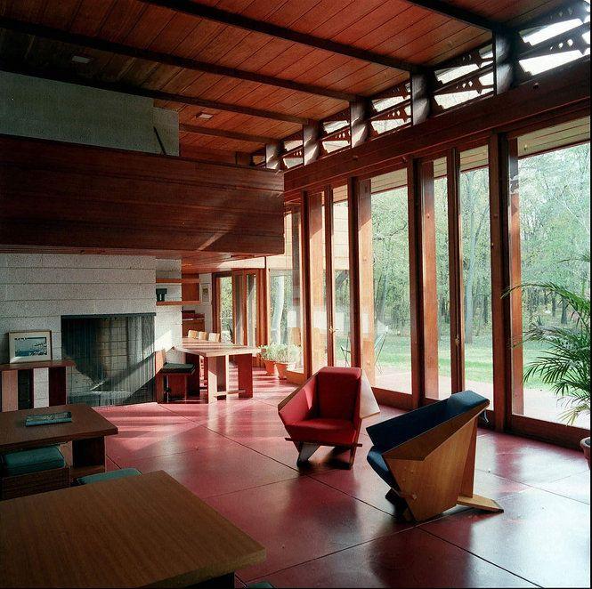 Bachman wilson house frank lloyd wright usonian period for Frank lloyd wright interior designs