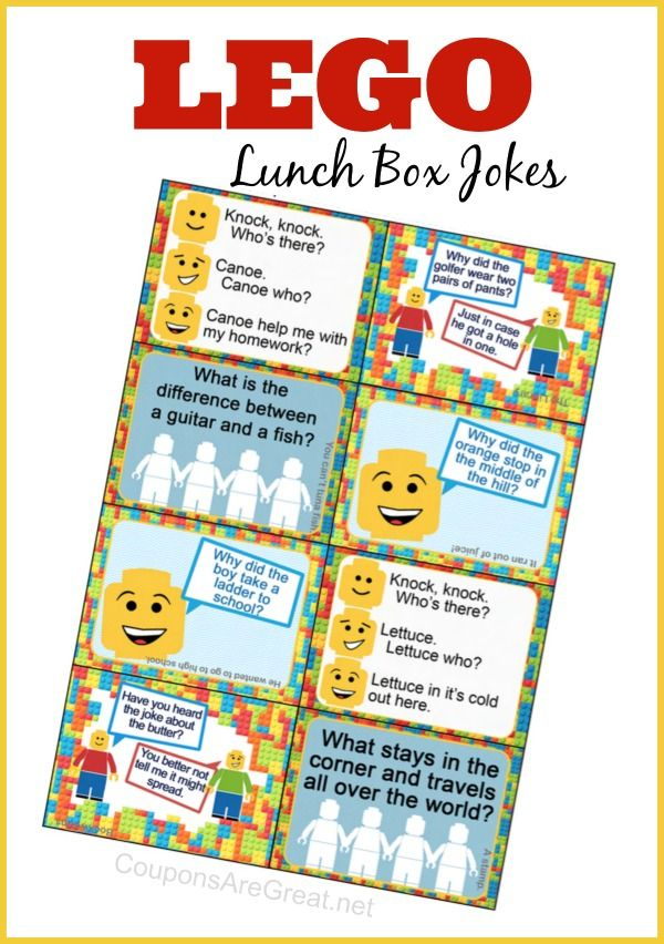 These lego inspired lunch box jokes are sure to get a laugh from your favorite little builder!