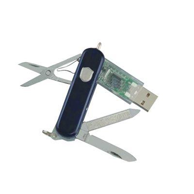 COLTELLINO MULTIUSO CON MEMORIA USB, forbici, lama, lima, mini penna a sfera ed anellino portachiavi. Il guscio in ABS è disponibile in diversi colori e con memoria che va da 1Gb ai 16Gb.