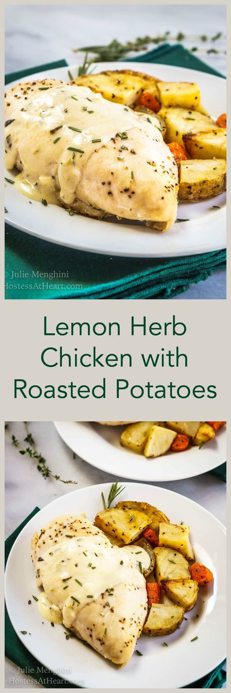Lemon Herb Chicken with Roasted potatoes is a complete, delicious meal ...