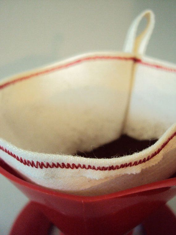 """$5 Handmade Reusable Cotton Coffee Filters No.2- """"After coffee is made, take grounds out of filter and dispose of them   -Rinse filter in cold water, squeeze out excess water and hang to dry."""