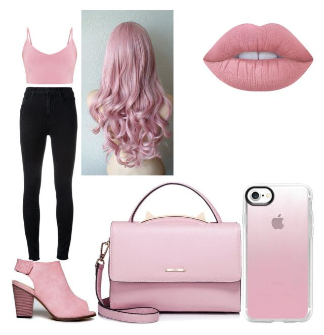 """Bubblegum Bitxh #4"" by raineingboties on Polyvore featuring J Brand, Chase & Chloe, WithChic, Lime Crime and Casetify"