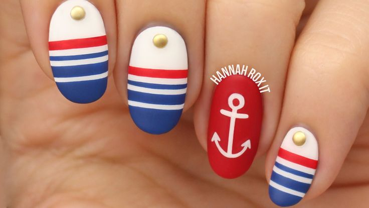 ❤ OPEN FOR PRODUCT INFO & MORE! Nautical sailor nails! DIY cute anchor nail art! Summer nail art! Check out my blog! http://hannahroxit.com I'm so ready for ...