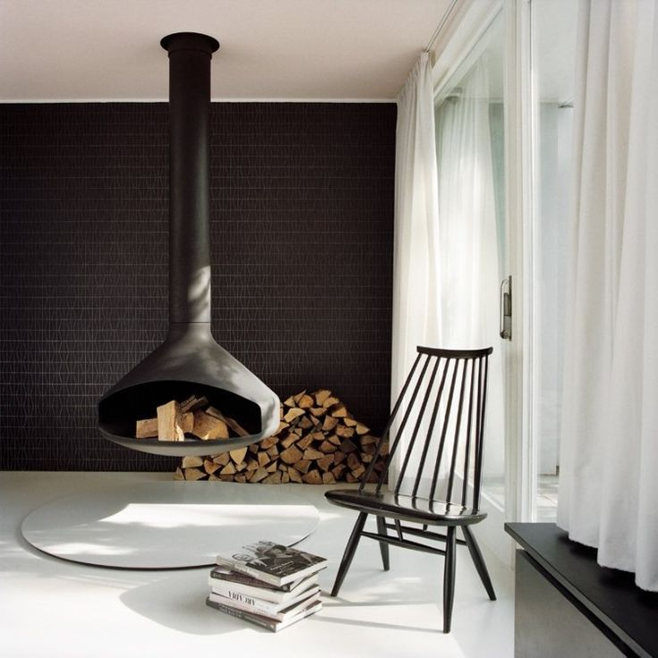 Round suspended wood fireplace