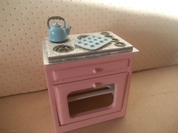 dollhouse oven cooker dollhouse stove pink by SmallthingsbyAmanda