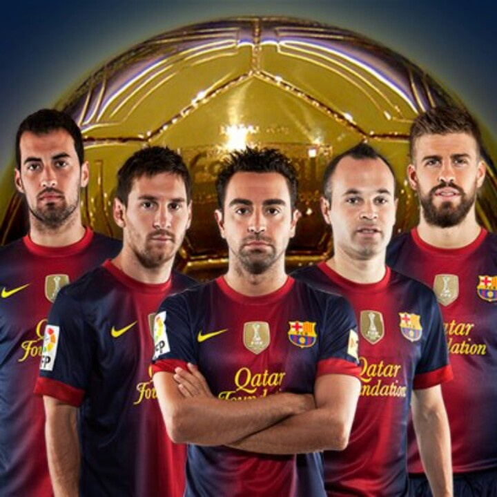 Five candidates to Ballon d'Or: Messi, Xavi, Iniesta, Piqué and Busquets..