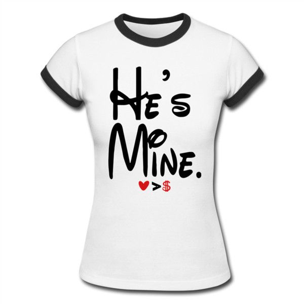 He's Mine Women's Ringer T-Shirt White/Black Women's Ringer T-Shirt |... ($20) ❤ liked on Polyvore featuring tops, t-shirts, shirts, black and white shirt, petite t shirts, sleeve shirt, vintage style t shirts and black and white top