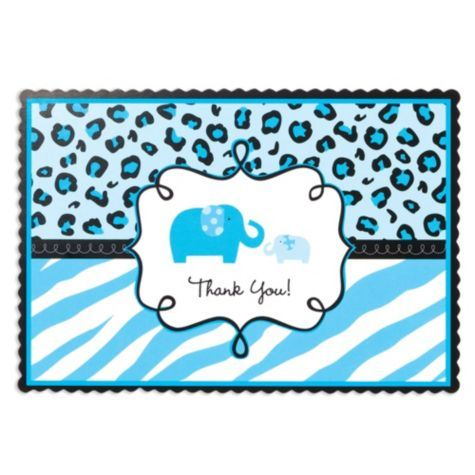 Blue Safari Baby Shower Thank You Notes   Party City