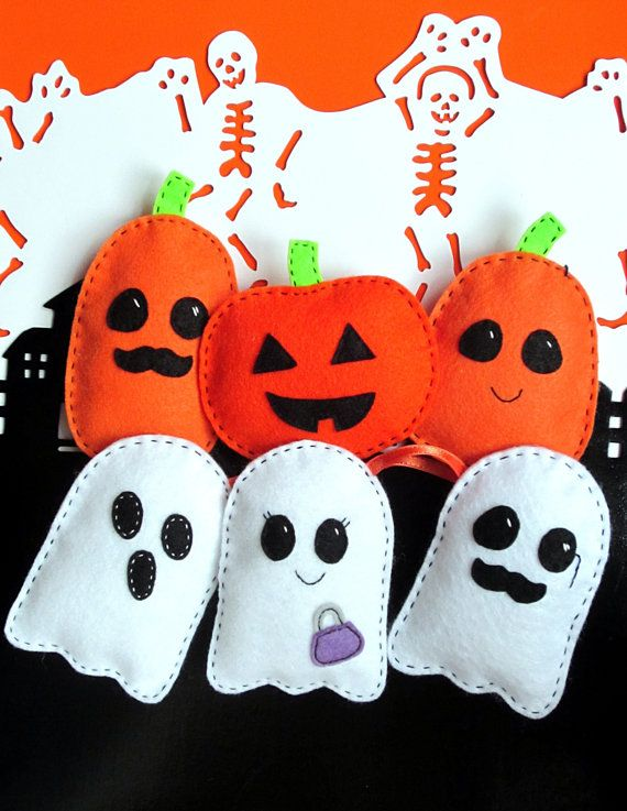 Easy Halloween Felt Softie Pattern Ghosts and Pumpkin PDF Sewing Tutorial, for Stuffed Toy, Decoration, Trick-or-Treat Party Favors