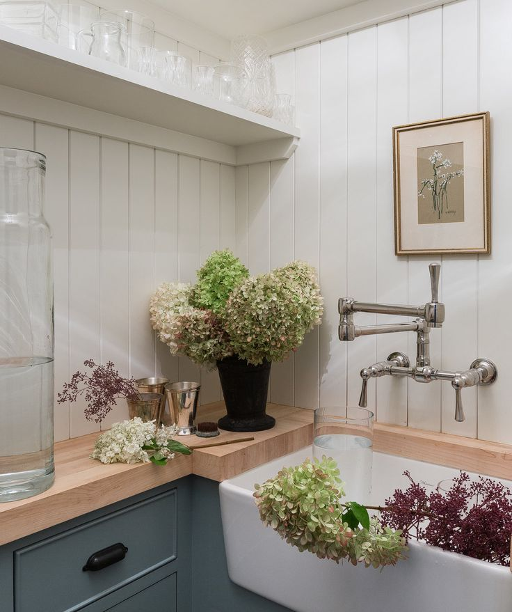 Seattle Kitchen And Mudroom Remodel: Tongue And Groove Paneling + Beadboard Walls + Butcher Block Countertops + Greenery In The Sink