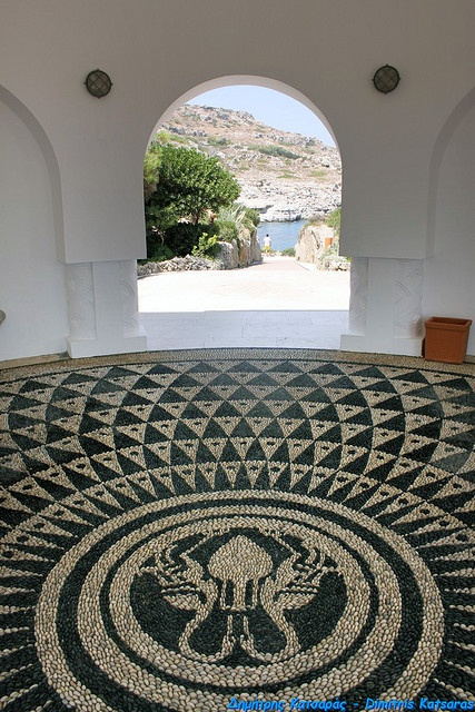 Mosaics made out of beach rocks! Gorgeous! Rodos @ Kalithea.