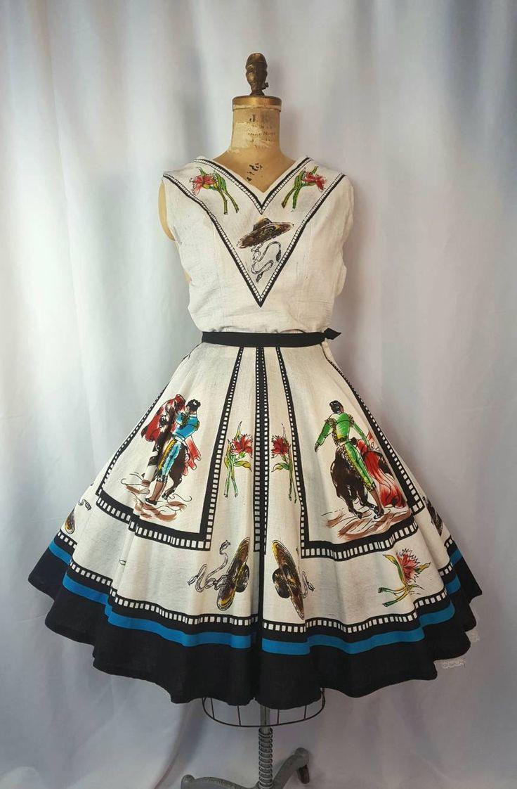 "1950s Mexican Bull Fighter Full Circle Skirt Set | Novelty Border Print | Size Small | Bust 34-35"" | Waist 25-26"" | Cotton | Vintage VTG | S"