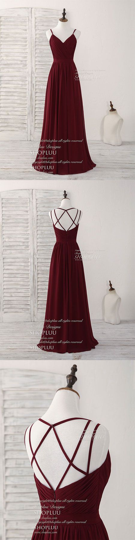 Simple burgundy chiffon long prom dress, burgundy evening dress