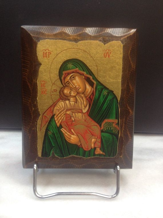 Blessed Virgin Mary & young Jesus - Madona y el niño. Hand made in Hellas-Greece. Dimensions: 4,52 x 5,9 inches / 11.5 x 15 cm