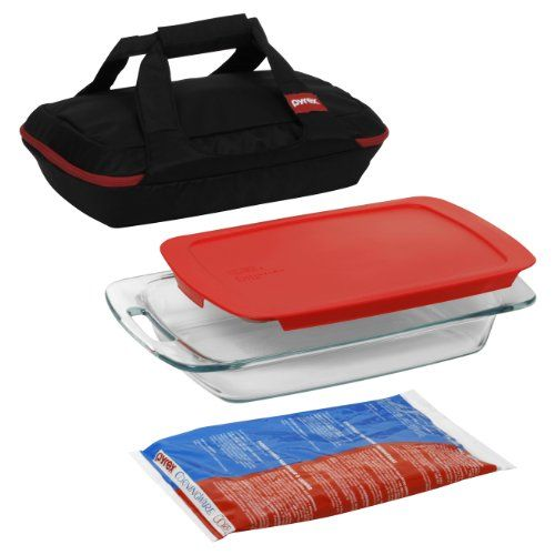 """http://yummycakedecorating.com/pyrex-portable-4-piece-set-includes-1-ea-3-qt-easy-grab-oblong-redcover-large-unipack-black-carrier/ On the go seems to apply to every facet of life these days, meals and cooking being no exception. Which is why PYREX PORTABLES products proudly offer a variety of stylish, secure options for transporting favorite dishes – hot or cold – to backyard barbeques, parties, picnics, tailgating parties or wherever """"on th...: Large Unipack, Pyrex Portable, Easy Grab, Portable 4 Pieces, Black Carrier, 4Piec Sets, Portable 4Piec, Kitchens Dining, 4 Pieces Sets"""