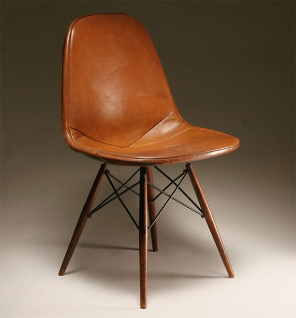 charles and ray eames herman miller dkw chair 1950s On leather eames dining chair