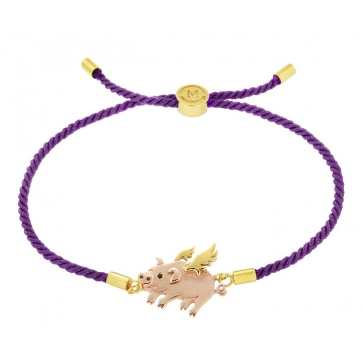 Missoma Lucky Flying Pig Purple Cord Bracelet