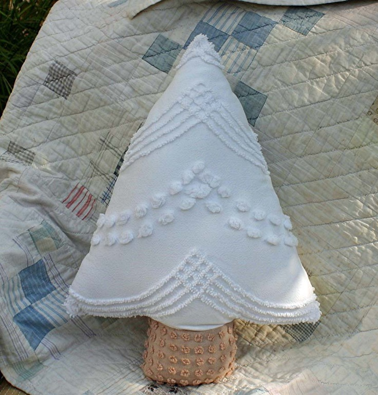 White Christmas tree pillow made from vintage chenille - have also done many of these in green chenille.