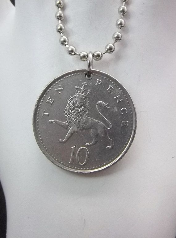 Lion Coin Necklace United Kingdom 10 Pence by AutumnWindsJewelry