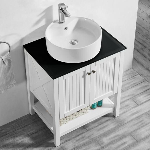 Roswell Modena 28 In W X 18 In D Vanity In White With Glass Vanity Top In Black With White Basin 756028 Wh Bg Nm The Home Depot In 2020 Single Bathroom Vanity Glass