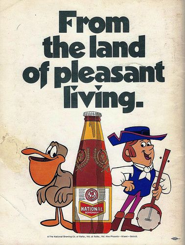 """Vintage Beer Advertising: National Bohemian Beer, The National Brewing Company of Baltimore, """"From the land of pleasant living"""", 1971 World Series Booklet."""