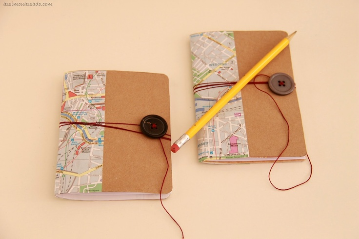#notebook #button #pencil #travel #map #DIY #personalized