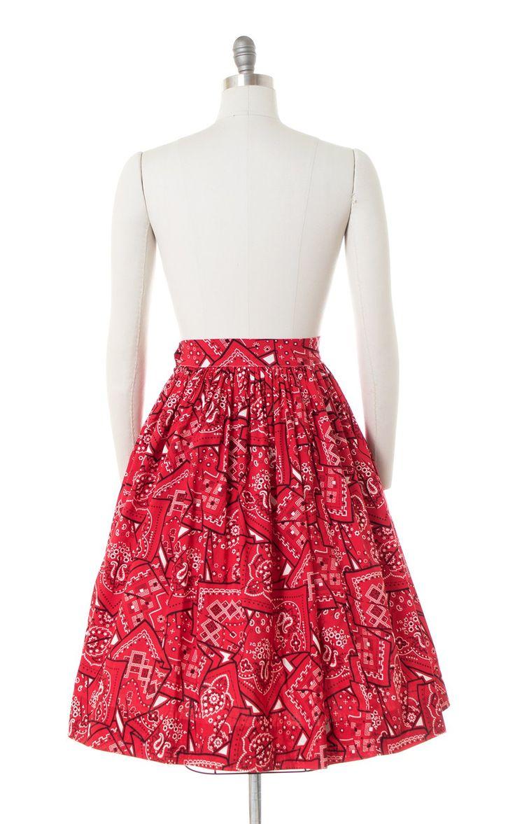 Vtg 1950s Red Orange Novelty Bandana print full skirt size Small Medium