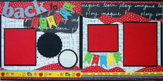 Back to school double 12x12 premade finished scrapbook pages by urbansavanna. $17.50, via Etsy.