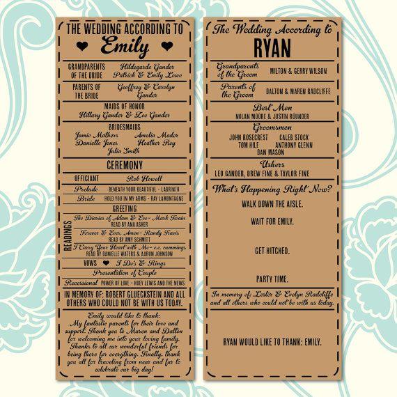 Printable Digital Wedding Program - 'The Wedding According to' His and Hers Program - Looks Great on Kraft Paper