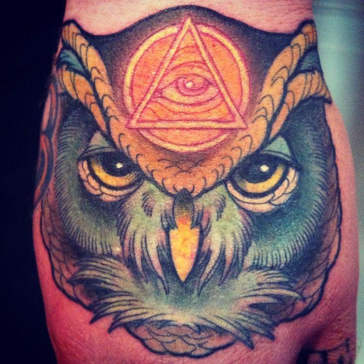 Owl and Illuminati Fist Tattoo - Annie Frenzel http://inkchill.com/owl-illuminati-fist-tattoo/ #illuminati #owl #tattoo