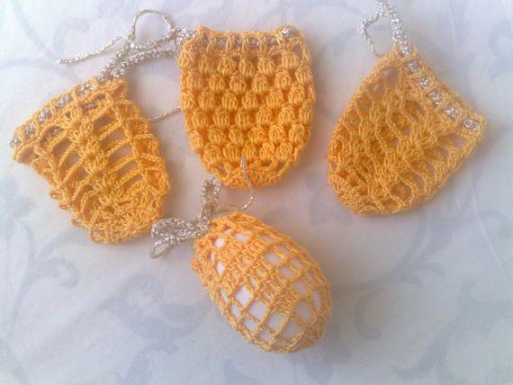 Häkeln von Osterei Cover 4er Set Oster Dekoration in gelb