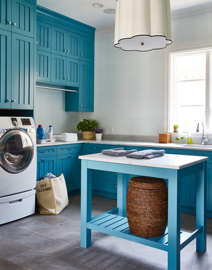 blue laundry room | Andrew Howard Interior Design