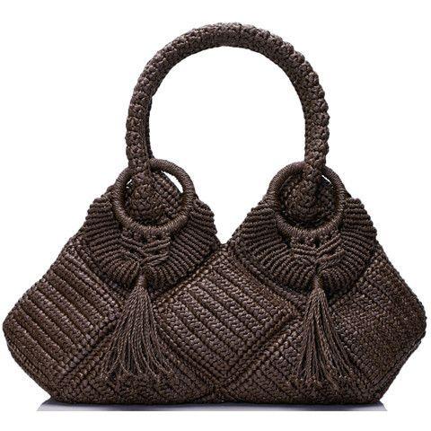 Crocheted bag with tassels, Mocha
