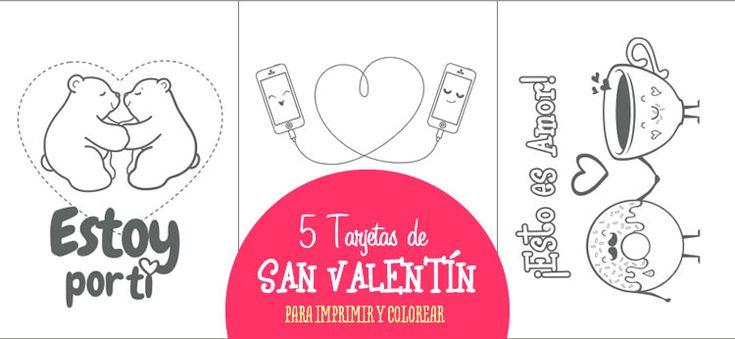 Pues sí, ahora que se acerca San Valentín estamos llenos de propuestas para hacer que el próximo 14 de Febrero sea para todos una fecha muy especial. Hoy te proponemos 5 postales súper bonitas para que las puedas imprimir y colorear para regalar