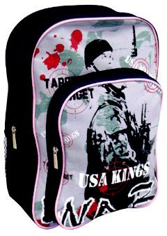USA Kings Backpack @ R99 Specs. 0.40 kg, 29 x 12 x 41cm  Code:USA200 Features: Main Compartment, Printed Front Pocket, Side Mesh Pockets, Back Straps Buy securely online: https://www.luggageladies.com All orders delivered within 3-4 working days.