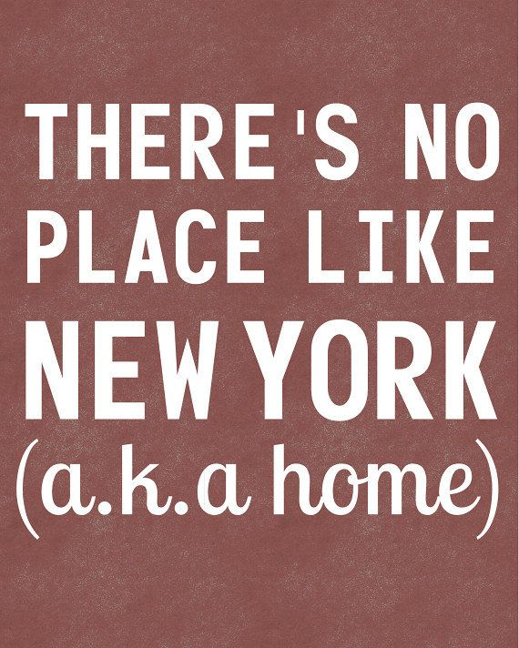 New York Art Typographic Print - There's No Place Like New York - There's No Place Like Home - NYC or NY State - Rustic Red