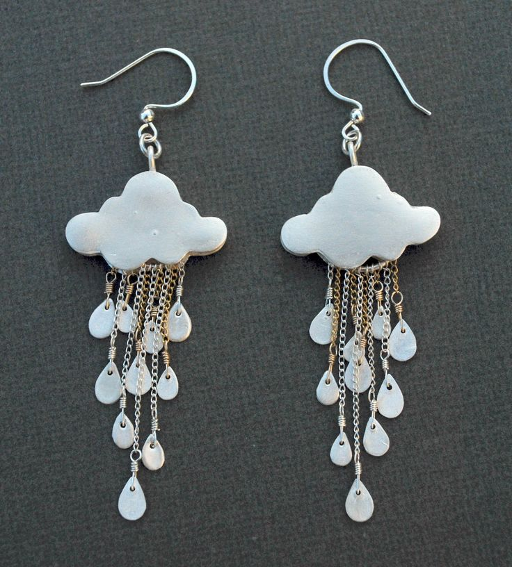 silver clay rain cloud earrings