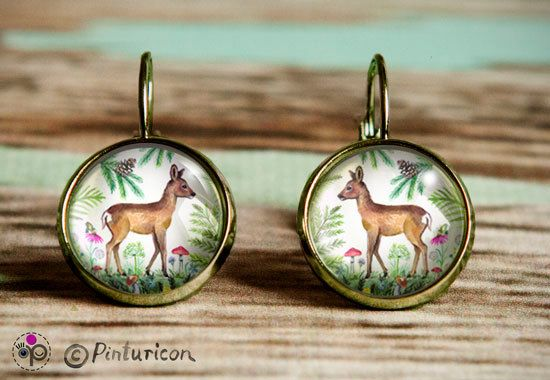 Forest Earrings Glass Cabochon Earrings Dangle by Pinturicon
