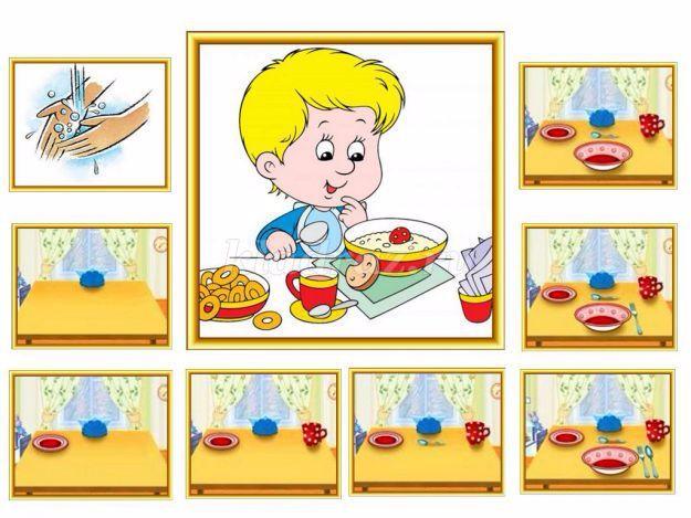 Сервировка стола в детском саду картинка для детей