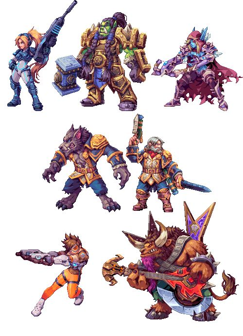 """ahruon: """" Pixel versions of some of my favourite characters from Heroes of the Storm, been playing for a bit. I've been very inactive lately :( sorry (commissions paused at the moment btw) """" Let's..."""