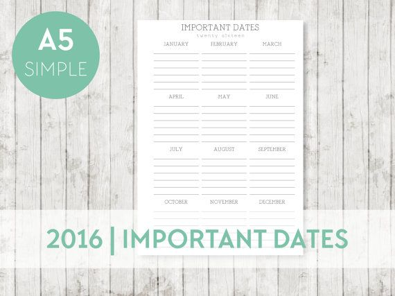 2016 A5 IMPORTANT Dates Calendar Printable by OrganiseWithKatie Printable planner pages